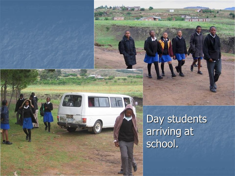 Day students arriving at school. Day students arriving at school.