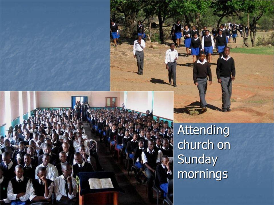 Attending church on Sunday mornings Attending church on Sunday mornings