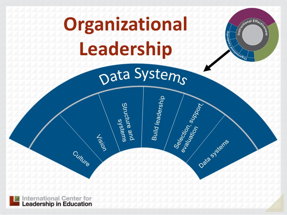 Culture Vision Structure and systems Selection, support, evaluation Data systems Build leadership Organizational Leadership