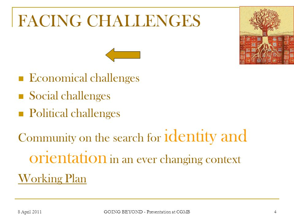 8 April 2011 GOING BEYOND - Presentation at CGMB 4 FACING CHALLENGES Economical challenges Social challenges Political challenges Community on the sea