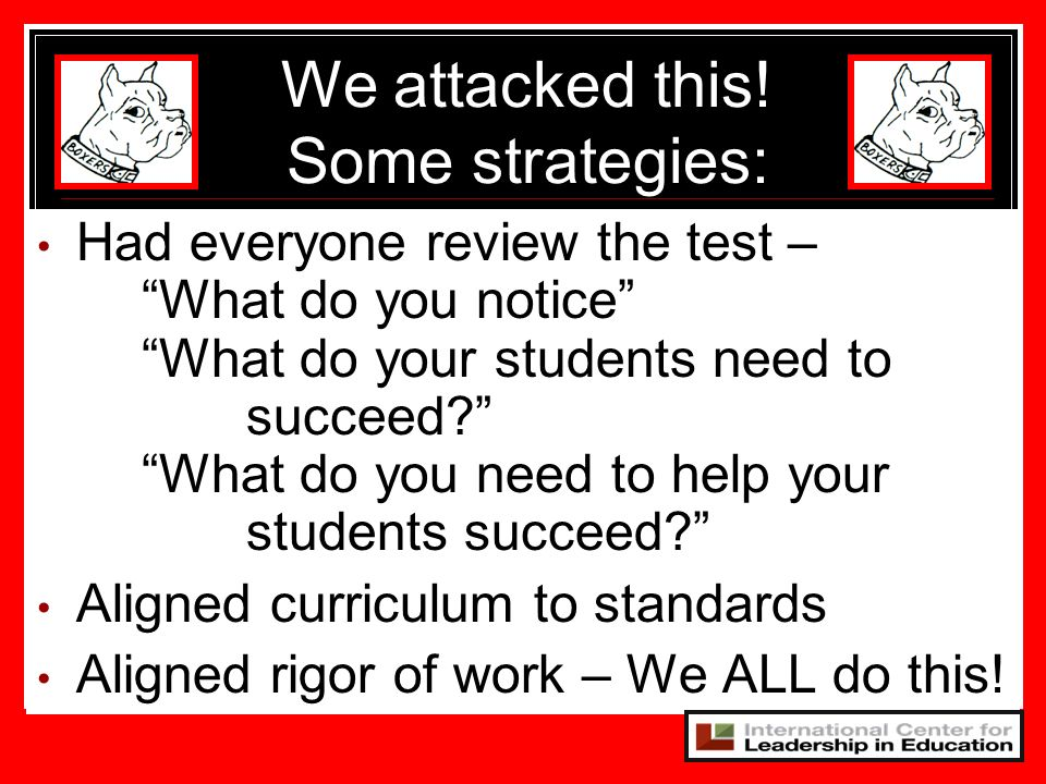 Had everyone review the test – What do you notice What do your students need to succeed? What do you need to help your students succeed? Aligned curri
