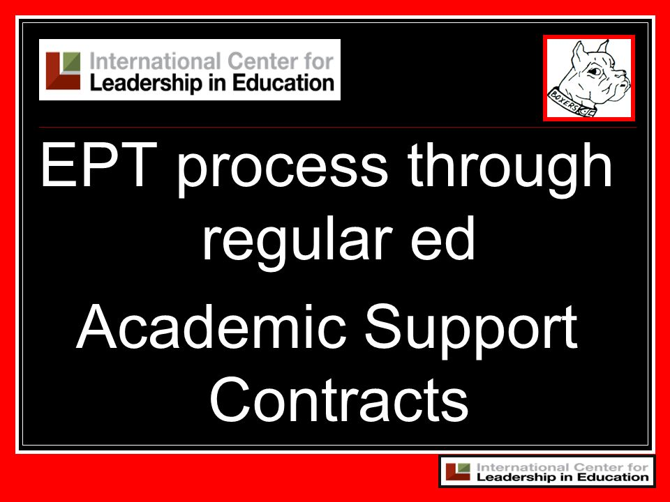 EPT process through regular ed Academic Support Contracts