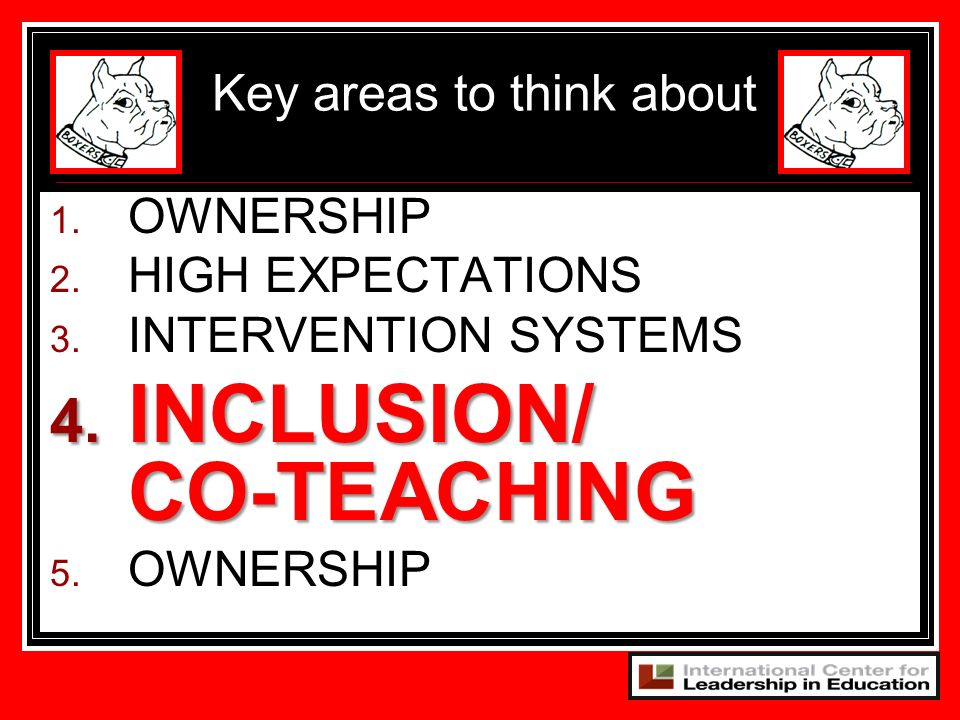 1. OWNERSHIP 2. HIGH EXPECTATIONS 3. INTERVENTION SYSTEMS 4. INCLUSION/ CO-TEACHING 5. OWNERSHIP Key areas to think about