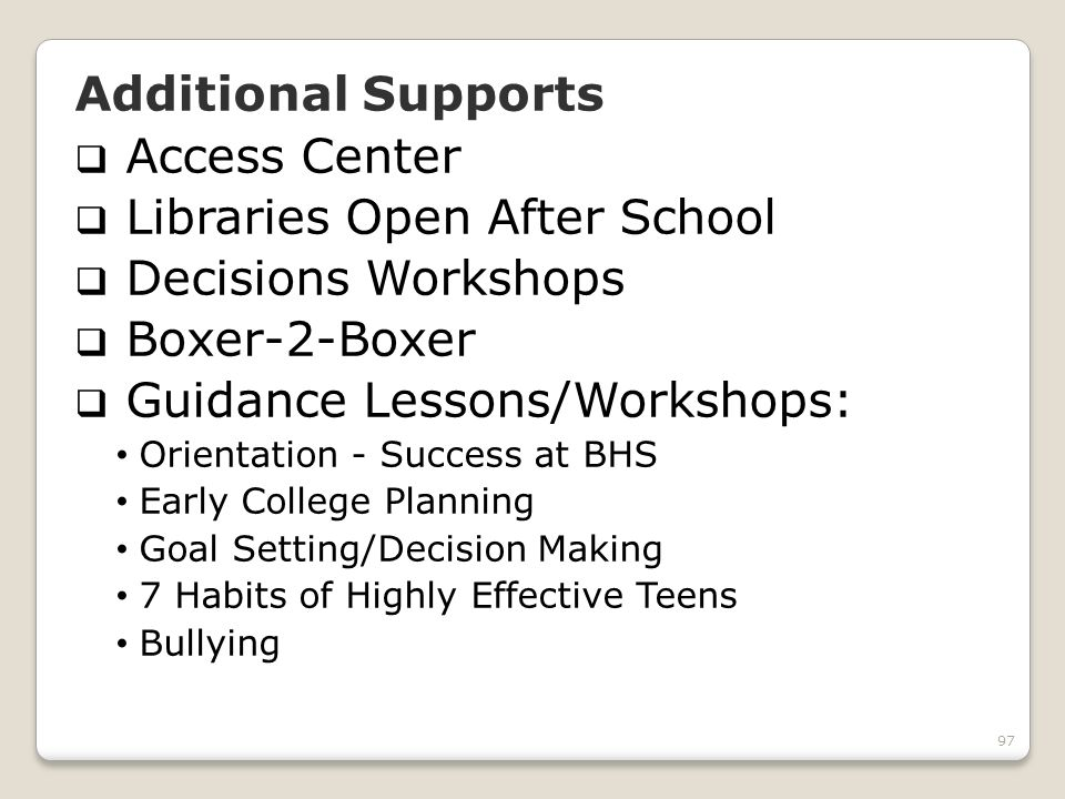 97 Additional Supports Access Center Libraries Open After School Decisions Workshops Boxer-2-Boxer Guidance Lessons/Workshops: Orientation - Success a