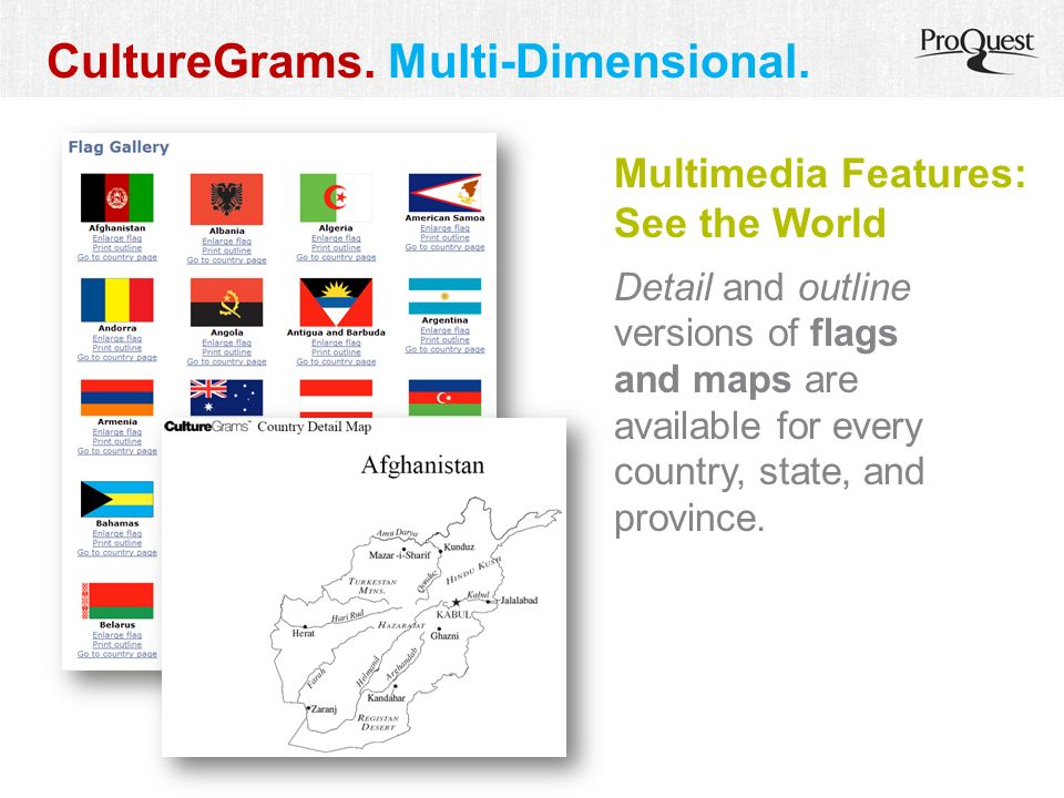 Multimedia Features: See the World Detail and outline versions of flags and maps are available for every country, state, and province. CultureGrams. M