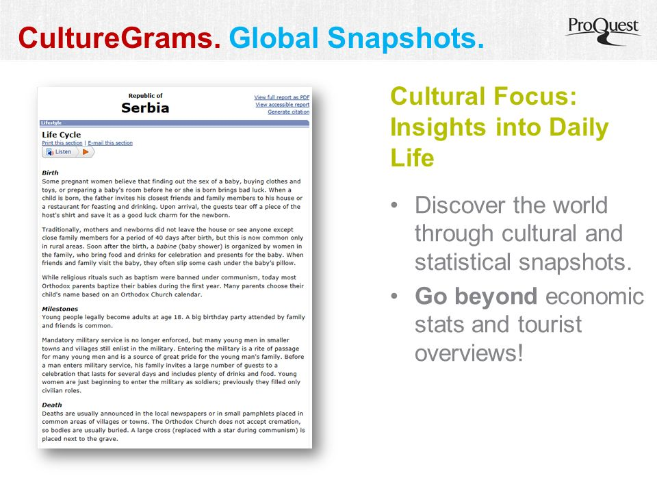CultureGrams. Global Snapshots. Discover the world through cultural and statistical snapshots.