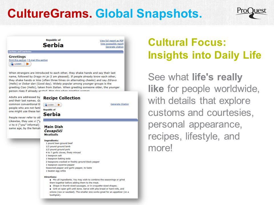 CultureGrams. Global Snapshots.