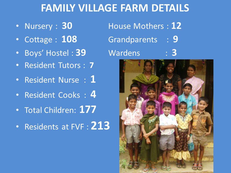 Nursery : 30 House Mothers : 12 Cottage : 108 Grandparents : 9 Boys Hostel : 39 Wardens : 3 Resident Tutors : 7 Resident Nurse : 1 Resident Cooks : 4