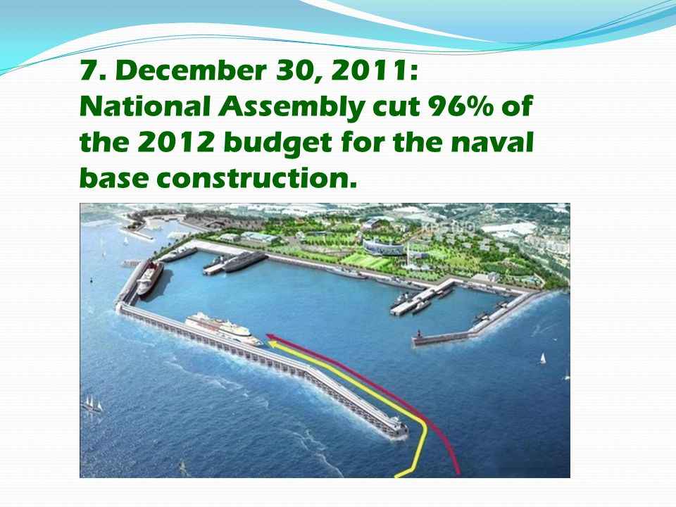 7. December 30, 2011: National Assembly cut 96% of the 2012 budget for the naval base construction.