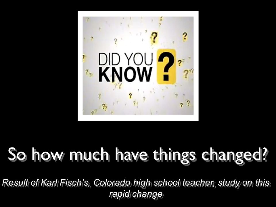 Result of Karl Fischs, Colorado high school teacher, study on this rapid change So how much have things changed?