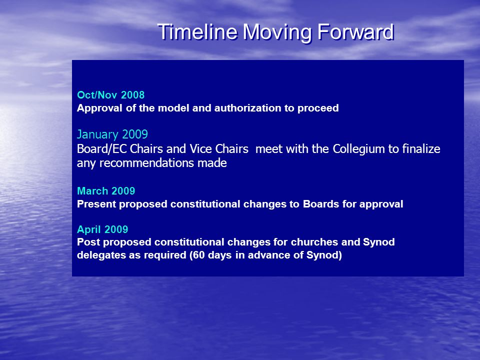 Timeline Moving Forward Oct/Nov 2008 Approval of the model and authorization to proceed January 2009 Board/EC Chairs and Vice Chairs meet with the Col
