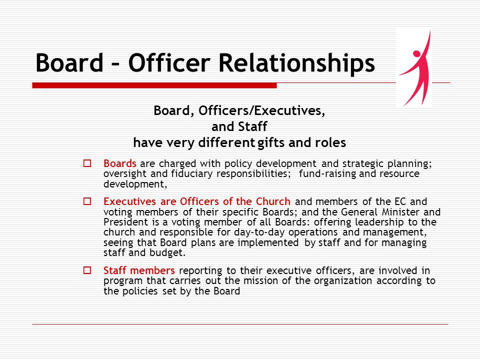 Board – Officer Relationships Board, Officers/Executives, and Staff have very different gifts and roles Boards are charged with policy development and strategic planning; oversight and fiduciary responsibilities; fund-raising and resource development, Executives are Officers of the Church and members of the EC and voting members of their specific Boards; and the General Minister and President is a voting member of all Boards: offering leadership to the church and responsible for day-to-day operations and management, seeing that Board plans are implemented by staff and for managing staff and budget.