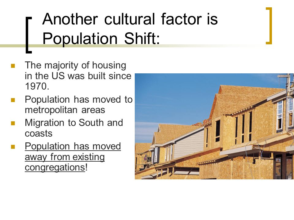 Another cultural factor is Population Shift: The majority of housing in the US was built since 1970.