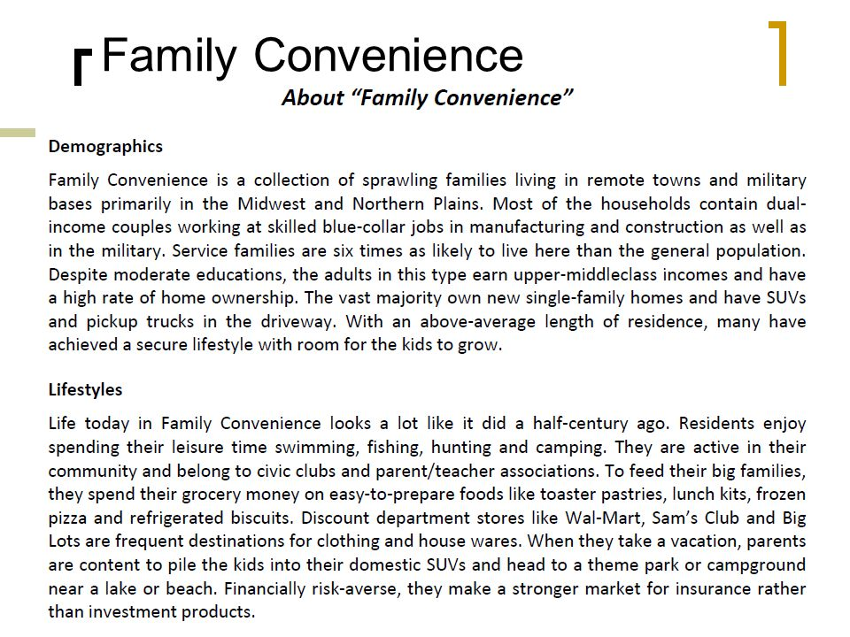 Family Convenience