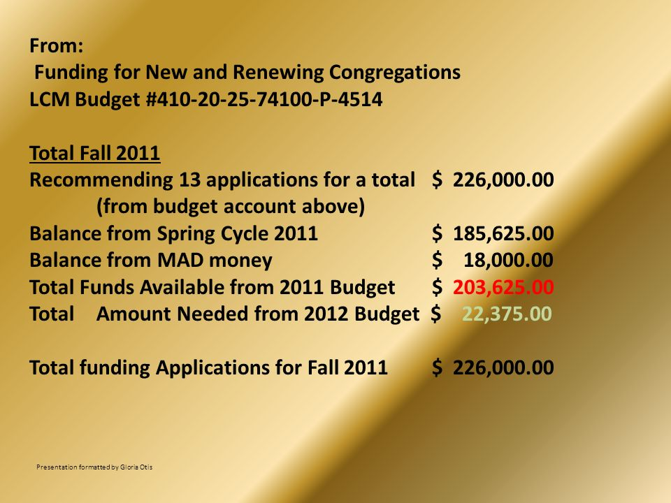 From: Funding for New and Renewing Congregations LCM Budget #410-20-25-74100-P-4514 Total Fall 2011 Recommending 13 applications for a total$ 226,000.