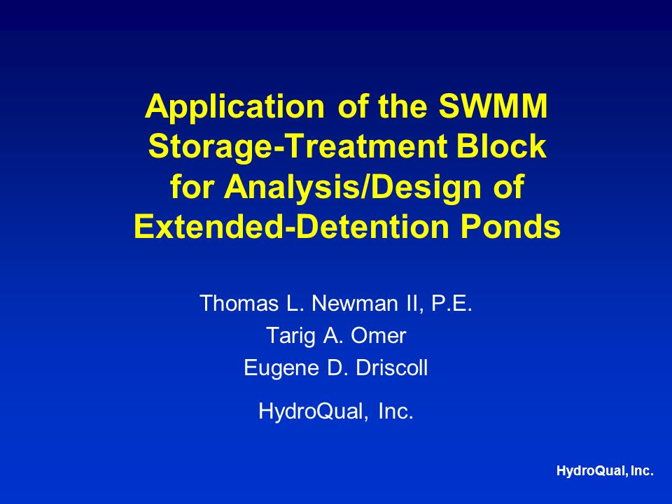Overview EDPs -popular BMPs for storm water control Current design approach based on: –rules of thumb –guidance documents target large storms drain time: 24-48 hrs –potential for poor pollutant-removal efficiency Alternate design approach, based on: –long-term simulations –simple screening model –SWMM S-T detention time concept, targets smaller storms goal: optimize pollutant removal efficiency