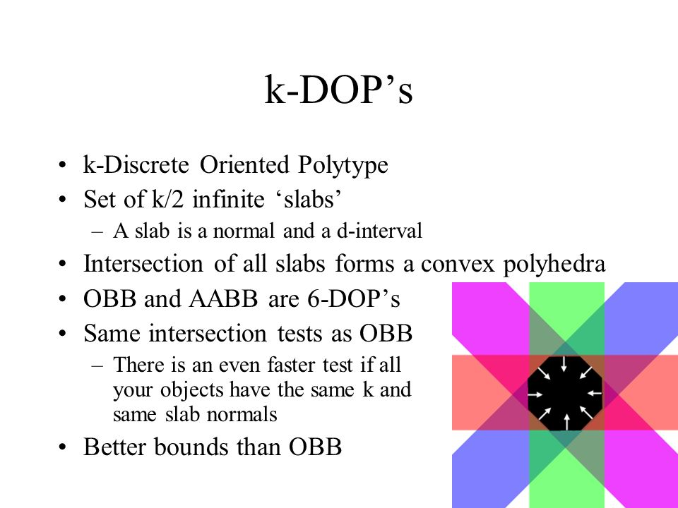 k-DOPs k-Discrete Oriented Polytype Set of k/2 infinite slabs –A slab is a normal and a d-interval Intersection of all slabs forms a convex polyhedra