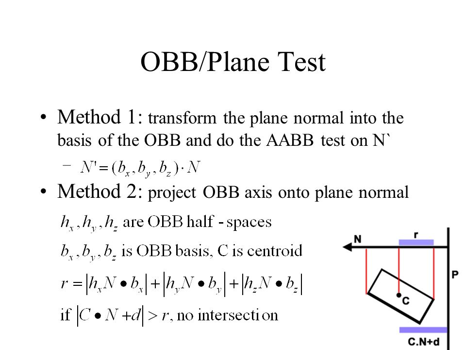OBB/Plane Test Method 1: transform the plane normal into the basis of the OBB and do the AABB test on N` – Method 2: project OBB axis onto plane norma