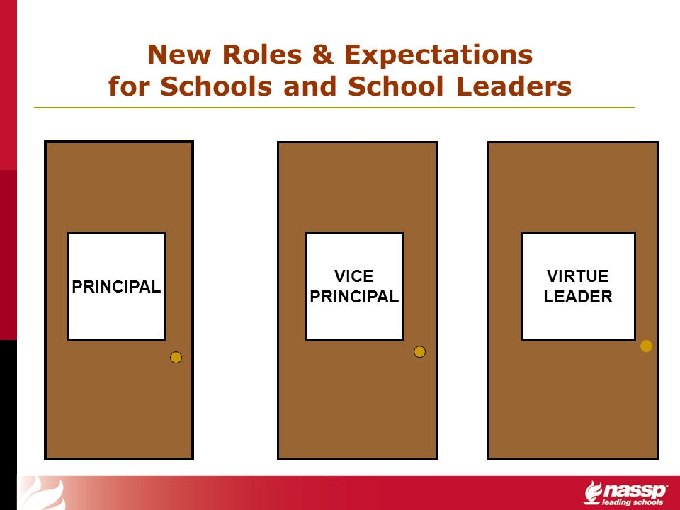 PRINCIPAL VICE PRINCIPAL VIRTUE LEADER New Roles & Expectations for Schools and School Leaders