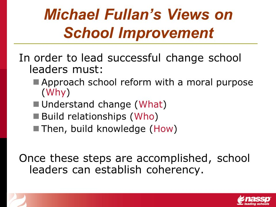 Michael Fullans Views on School Improvement In order to lead successful change school leaders must: Approach school reform with a moral purpose (Why)