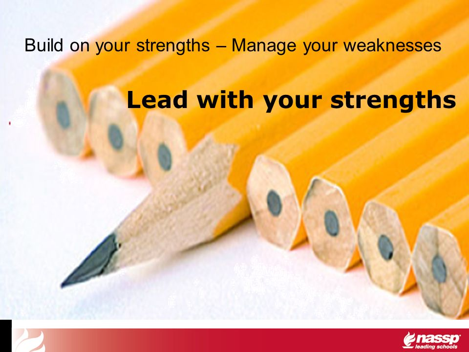 Build on your strengths – Manage your weaknesses Lead with your strengths