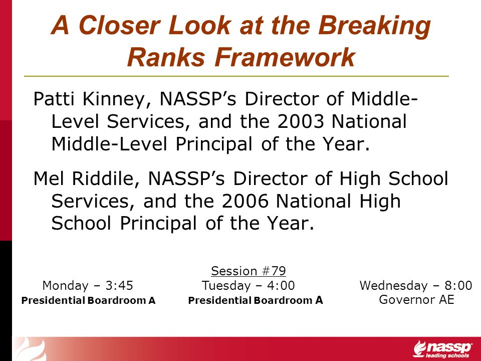 A Closer Look at the Breaking Ranks Framework Patti Kinney, NASSPs Director of Middle- Level Services, and the 2003 National Middle-Level Principal of