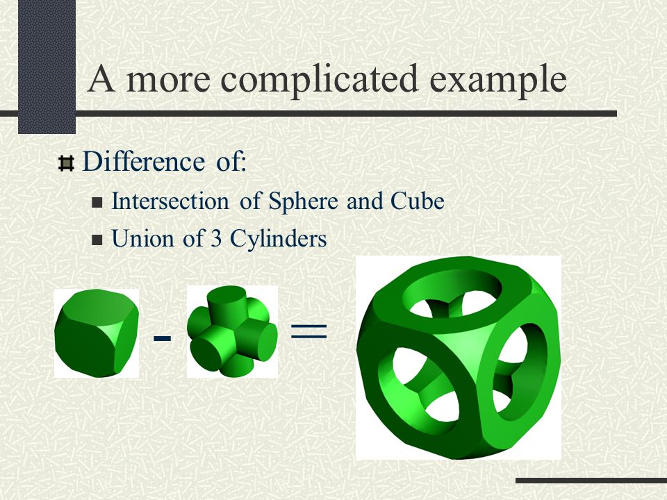 A more complicated example Difference of: Intersection of Sphere and Cube Union of 3 Cylinders -=