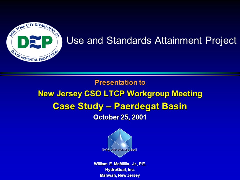 Use and Standards Attainment Project Presentation to New Jersey CSO LTCP Workgroup Meeting Case Study – Paerdegat Basin October 25, 2001 William E.