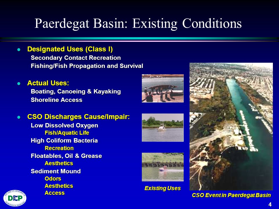 4 Paerdegat Basin: Existing Conditions l Designated Uses (Class I) Secondary Contact Recreation Fishing/Fish Propagation and Survival l Actual Uses: Boating, Canoeing & Kayaking Shoreline Access l CSO Discharges Cause/Impair: Low Dissolved Oxygen Fish/Aquatic Life High Coliform Bacteria Recreation Floatables, Oil & Grease Aesthetics Sediment Mound OdorsAestheticsAccess CSO Event in Paerdegat Basin Existing Uses