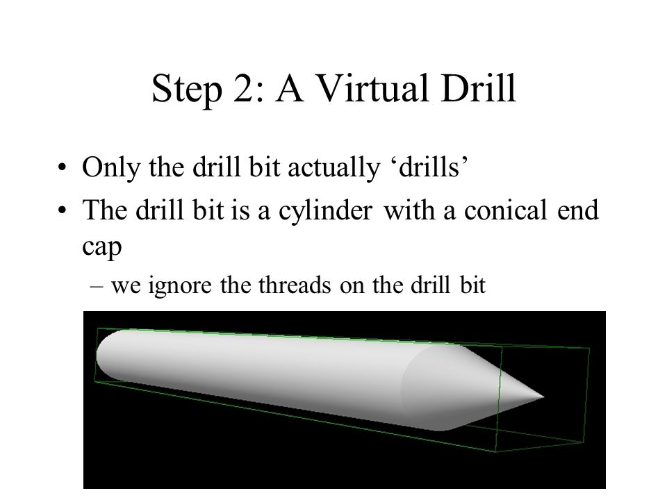Step 2: A Virtual Drill Only the drill bit actually drills The drill bit is a cylinder with a conical end cap –we ignore the threads on the drill bit
