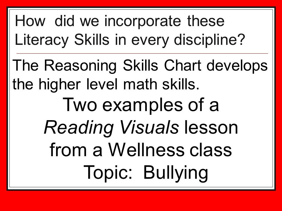 How did we incorporate these Literacy Skills in every discipline.