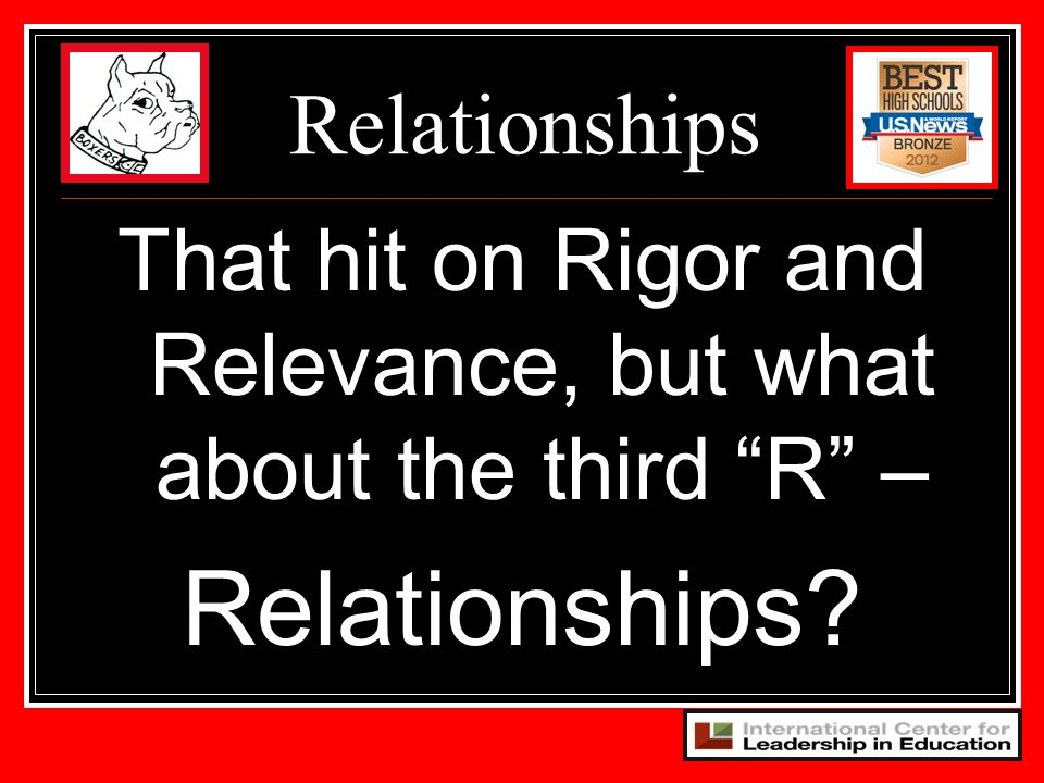 That hit on Rigor and Relevance, but what about the third R – Relationships? Relationships
