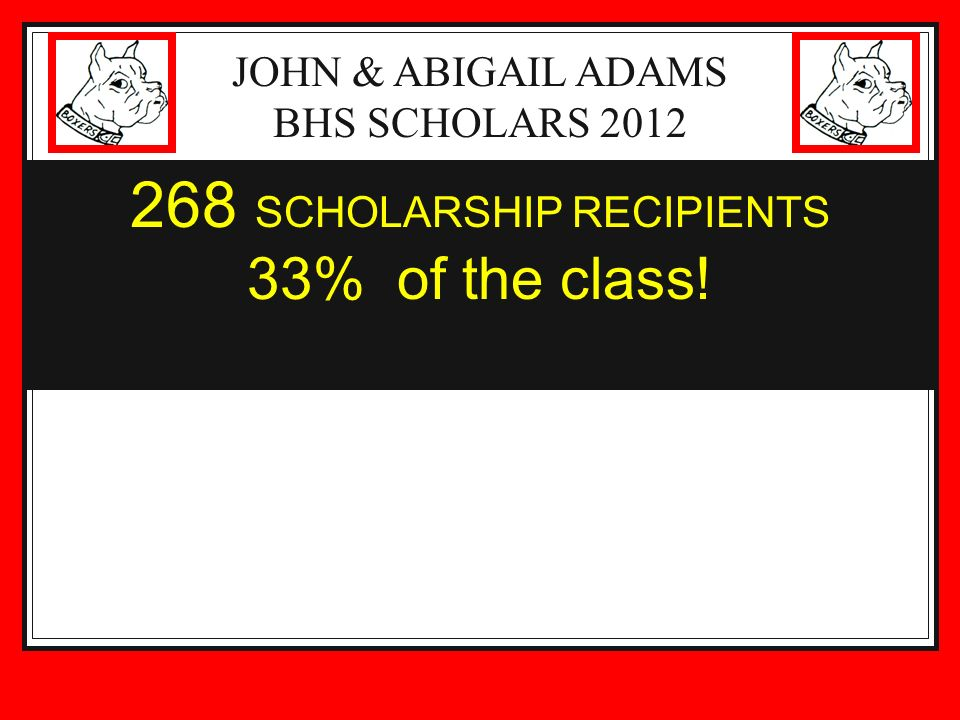 JOHN & ABIGAIL ADAMS BHS SCHOLARS 2012 268 SCHOLARSHIP RECIPIENTS 33% of the class!