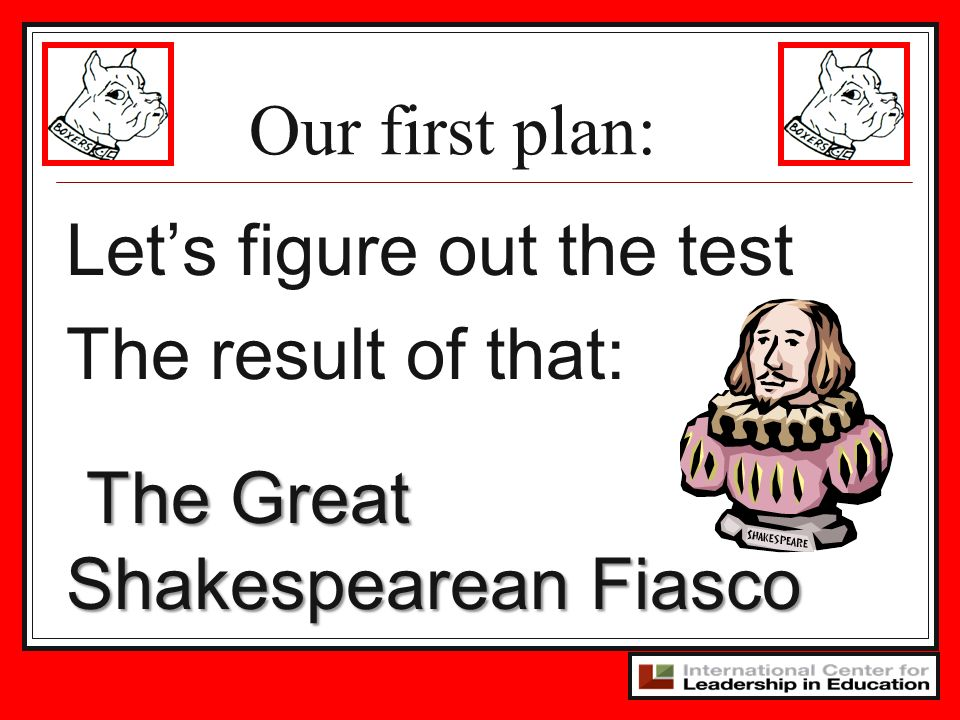Our first plan: Lets figure out the test The result of that: The Great Shakespearean Fiasco The Great Shakespearean Fiasco