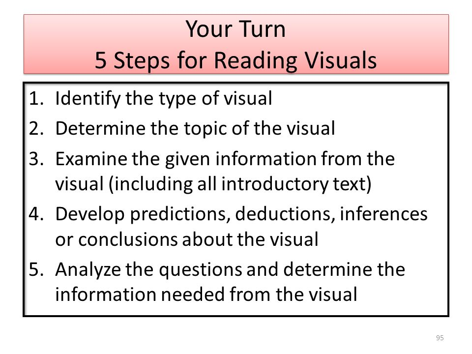 Your Turn 5 Steps for Reading Visuals 1.Identify the type of visual 2.Determine the topic of the visual 3.Examine the given information from the visual (including all introductory text) 4.Develop predictions, deductions, inferences or conclusions about the visual 5.Analyze the questions and determine the information needed from the visual 95