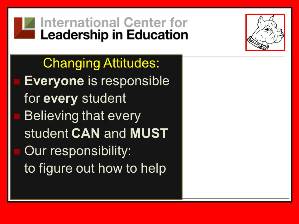 Changing Attitudes: Everyone is responsible for every student Believing that every student CAN and MUST Our responsibility: to figure out how to help