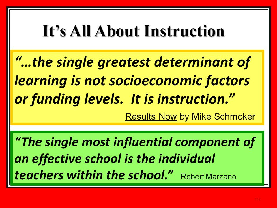 116 The single most influential component of an effective school is the individual teachers within the school.