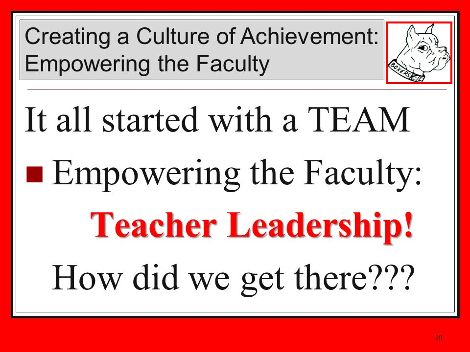 29 It all started with a TEAM Empowering the Faculty: Teacher Leadership! How did we get there??? Creating a Culture of Achievement: Empowering the Fa