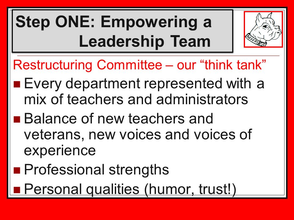 Restructuring Committee – our think tank Every department represented with a mix of teachers and administrators Balance of new teachers and veterans, new voices and voices of experience Professional strengths Personal qualities (humor, trust!) Step ONE: Empowering a Leadership Team
