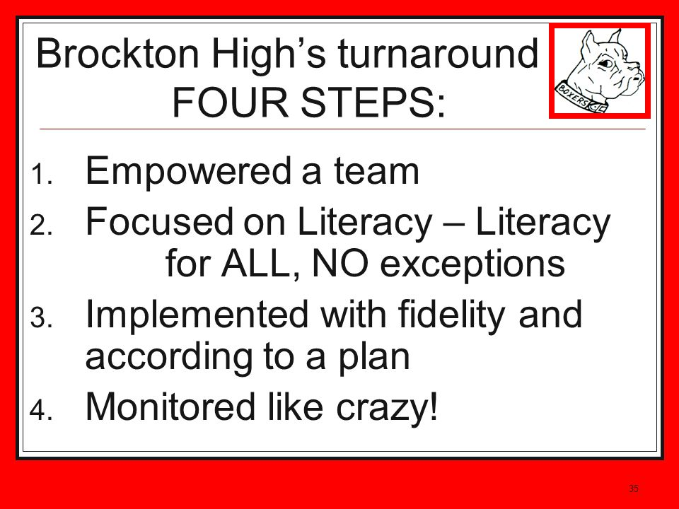 35 1. Empowered a team 2. Focused on Literacy – Literacy for ALL, NO exceptions 3. Implemented with fidelity and according to a plan 4. Monitored like