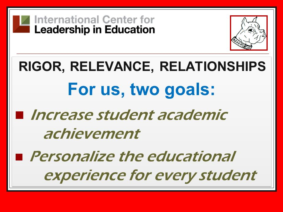 RIGOR, RELEVANCE, RELATIONSHIPS For us, two goals: Increase student academic achievement Personalize the educational experience for every student RIGO