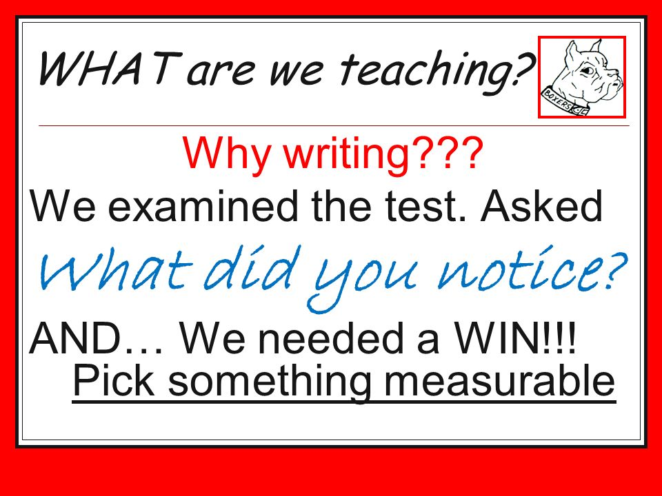 Why writing??? We examined the test. Asked What did you notice? AND… We needed a WIN!!! Pick something measurable WHAT are we teaching?
