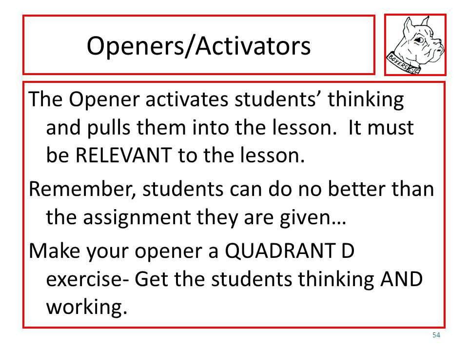 Openers/Activators The Opener activates students thinking and pulls them into the lesson. It must be RELEVANT to the lesson. Remember, students can do