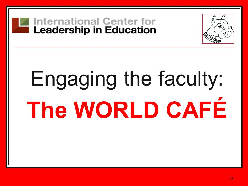 Engaging the faculty: The WORLD CAFÉ 73