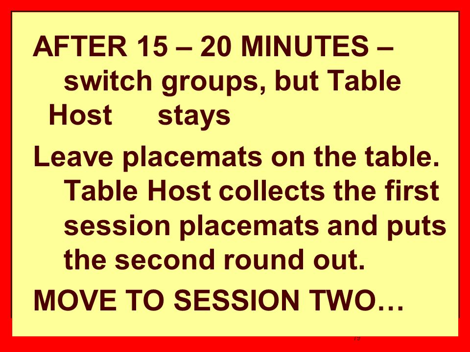 79 AFTER 15 – 20 MINUTES – switch groups, but Table Host stays Leave placemats on the table.