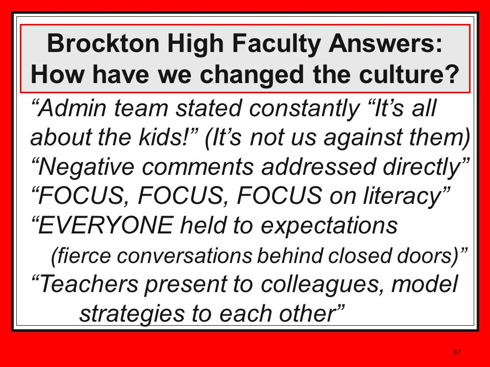 87 Brockton High Faculty Answers: How have we changed the culture? Admin team stated constantly Its all about the kids! (Its not us against them) Nega