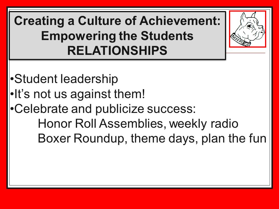 Creating a Culture of Achievement: Empowering the Students RELATIONSHIPS Student leadership Its not us against them.
