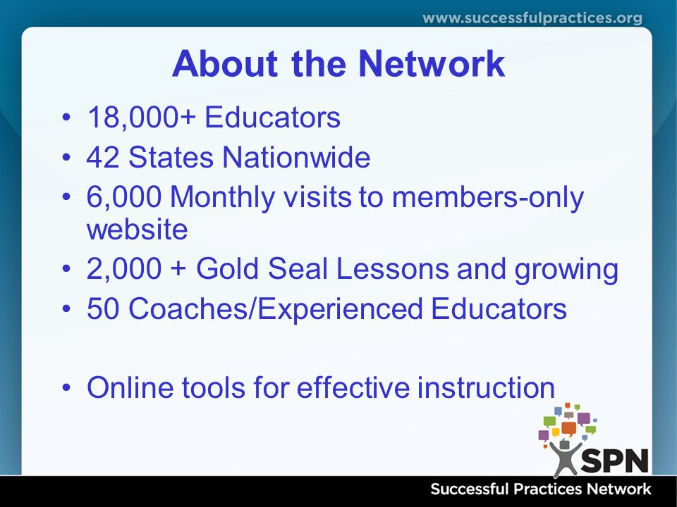 About the Network 18,000+ Educators 42 States Nationwide 6,000 Monthly visits to members-only website 2,000 + Gold Seal Lessons and growing 50 Coaches