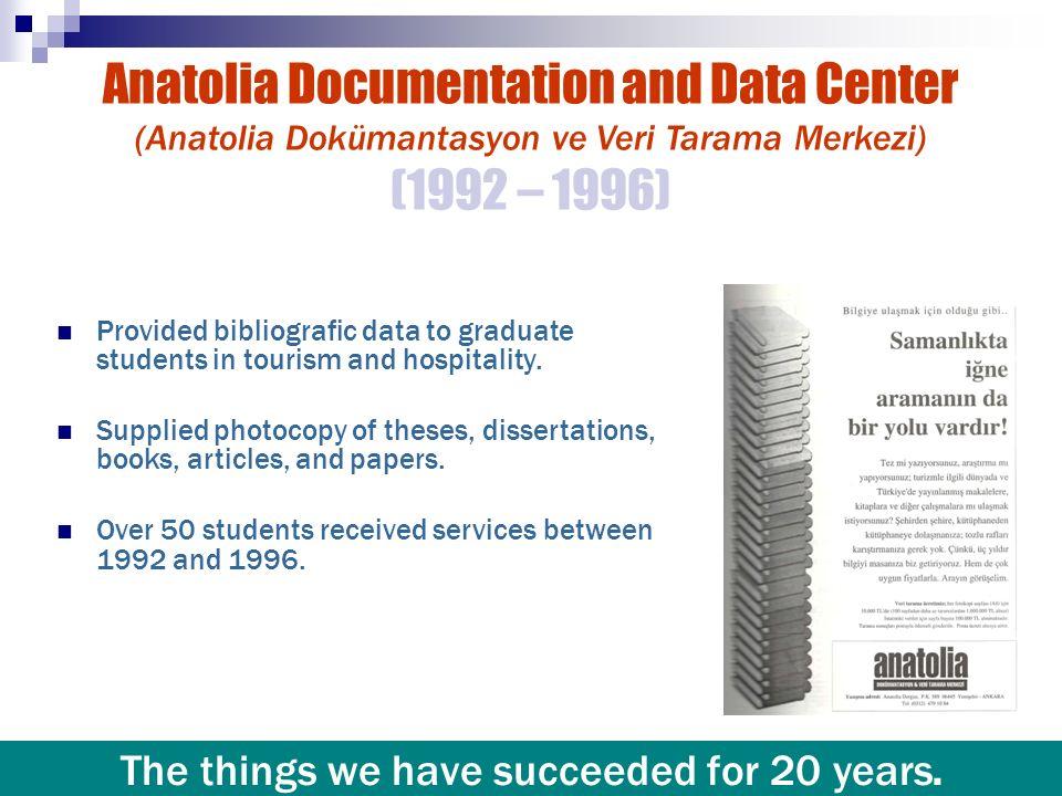 Anatolia Documentation and Data Center (Anatolia Dokümantasyon ve Veri Tarama Merkezi) (1992 – 1996) Provided bibliografic data to graduate students i