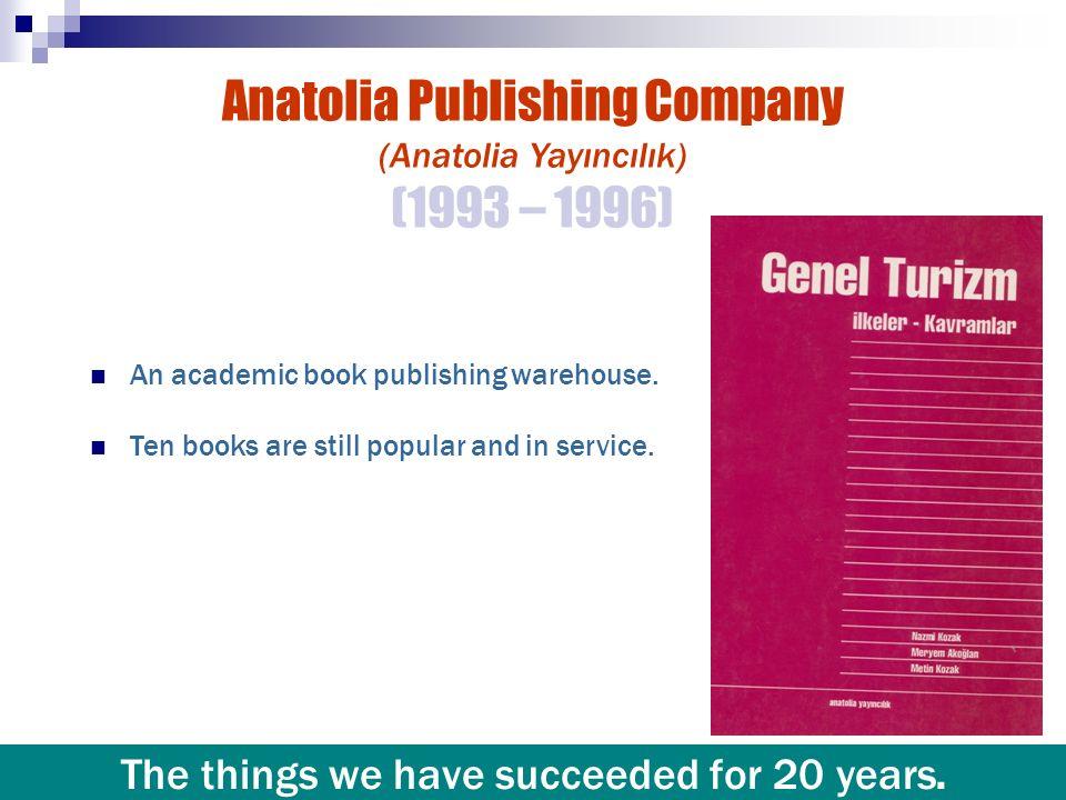 Anatolia Publishing Company (Anatolia Yayıncılık) (1993 – 1996) An academic book publishing warehouse. Ten books are still popular and in service. The